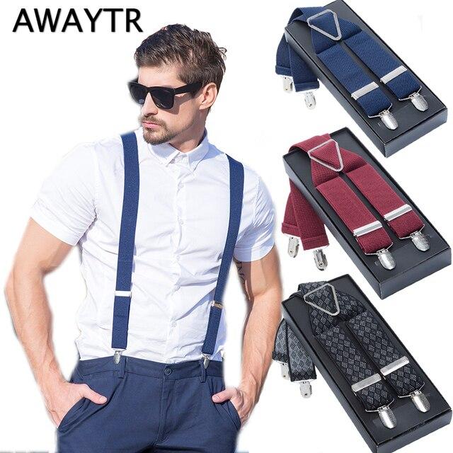 0a7392aa623 Suspensorio com Caixa AWAYTR Clássico X 4 Clips Alta Elástica Homens de  Negócios Presente Triângulo Suspensórios