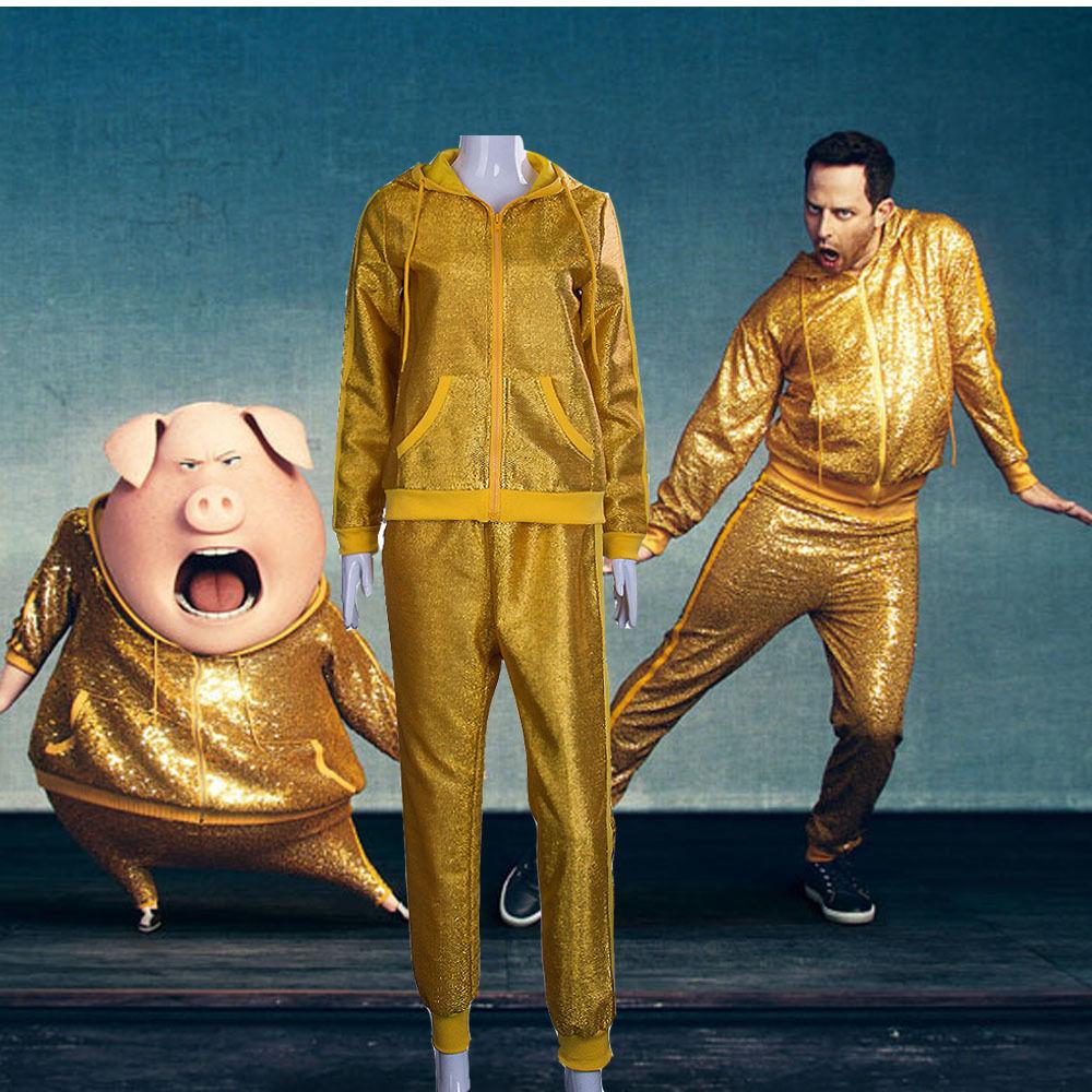 2016 Movie Cosplay Sing Golden Pig Full Set Golden Sweatshirt Shirt Cool Hoodie for Halloween Christmas Gifts