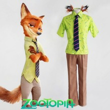 Zootopia Crazy Animal City Scam Artist Fox Nick Wilde Cosplay Costume Green Hawaiian Shirt Brown Pants with Fox Ears and Tail