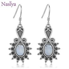 New Style Oval Ethnic Flower Moonstone Womens 925 Sterling Sliver Drop Earrings Wedding Party Anniversary Engagement Jewelry