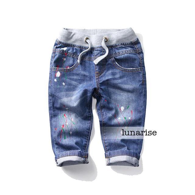 2-8 years children's Boys jeans elastic waist oil paint printing cowboy pants boys Denim 7 minutes pants wholesale