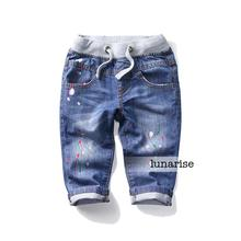 2-8 years children's Boys jeans elastic waist oil paint printing cowboy pants boys Denim 7 minutes pants wholesale
