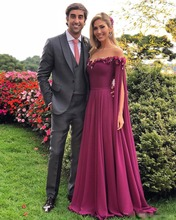 2019 Formal Dresses Evening Wear Long Sleeves Off The Shoulder Appliques Chiffon Prom Dress Long Pleats Cheap African Party Gown pink off the shoulder long sleeves chiffon blouse