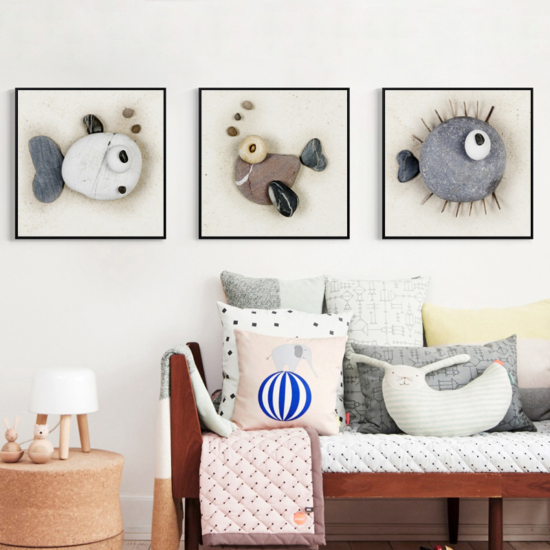 Elegant Poetry Art Stone Painting Fish Pattern Abstract Canvas Painting Art Print Posters Wall Picture for The Home Decoration in Painting Calligraphy from Home Garden