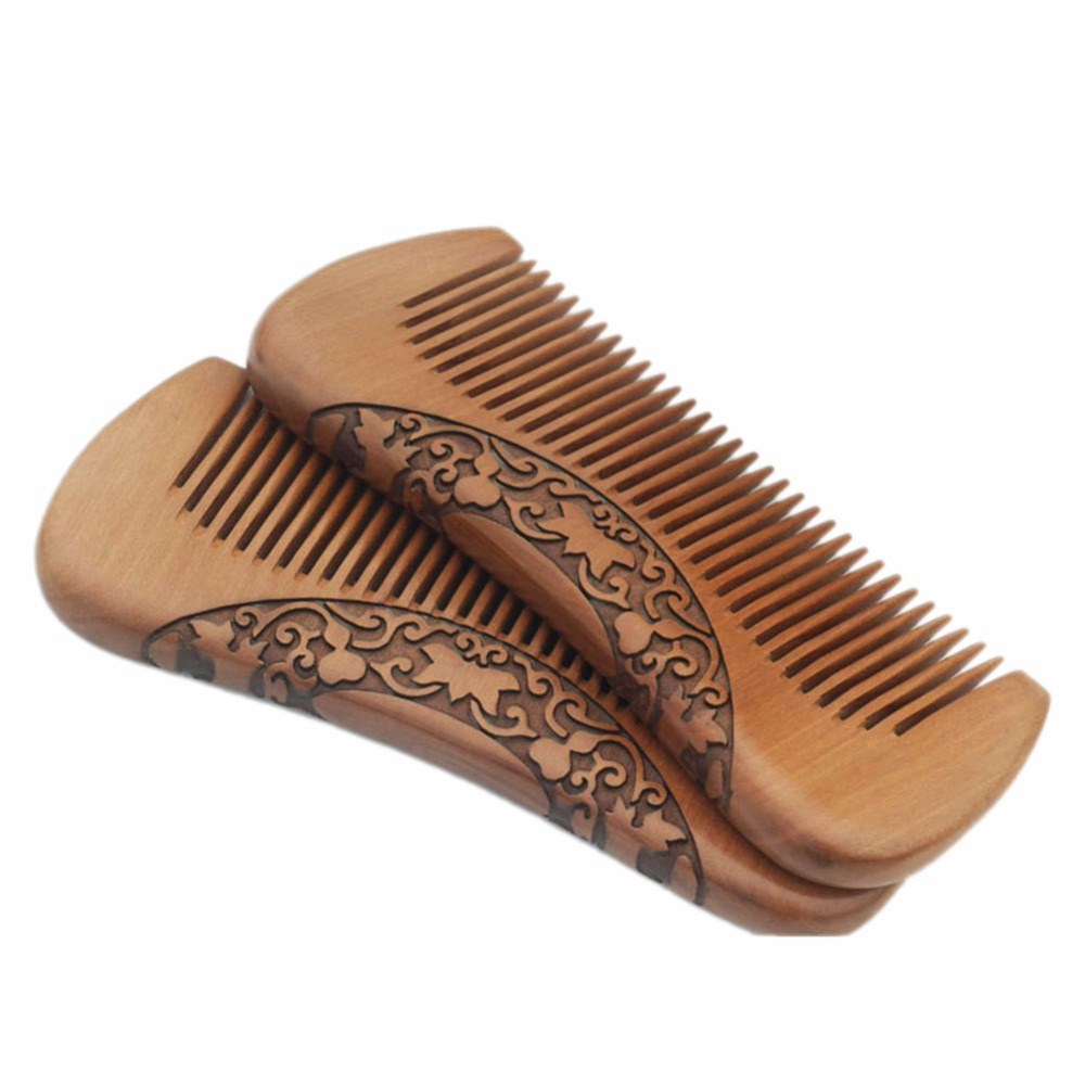 Pork combs natural green sandalwood very narrow teeth comb no static lice beard hair comb style цены