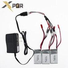3pcs 7.4V 1000Mah Lipo Battery With Charger Set For WLToys V262 V333 V353 V912 V915 DEVO4 RC Helicopter