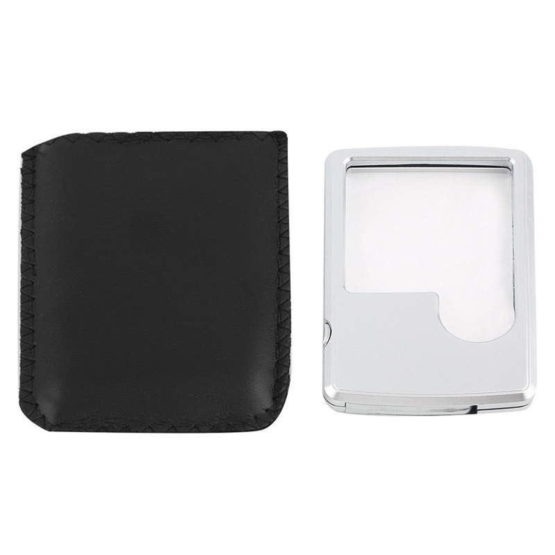 کارت اعتباری جدید 88 * 57 * 9mm 2 ذره بین لنز میکروسکوپ قابل حمل بسیار نازک و قابل حمل با کیف چرمی لامپ LED برای خواندن شیشه