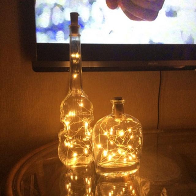 1c8786f71 20 Alimentado Por Bateria LEVOU Luzes Jar Garrafa de Vinho Cortiça  Estrelado DIY Luzes Da Corda