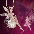 Chapado en oro de joyería de moda de cristal alas de ángel collar de cadena/ahiny choker collar de hadas de la mariposa mujeres femme bijoux dz435