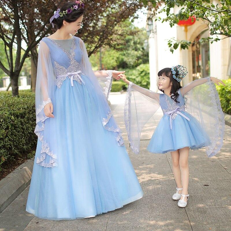 Mutter Tochter Kleider für Hochzeit Abend Lange Ballkleid Mädchen Formales Kleid Familie Passende Kleidung Blaue Fee Kostüm