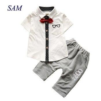 Children's Clothing Sets Summer Baby Boys Gentleman Clothes Suit Kids Bow Tie Short Sleeve Tops + Striped Pants 2 pcs Set