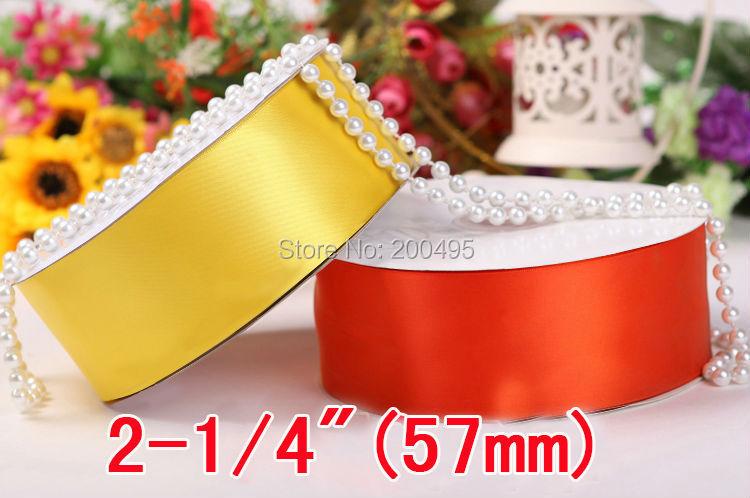 """[IuBuFiGo] 2-1/""""(57 мм) одинарная атласная лента для свадьбы атласная 100 ярдов/Лот"""