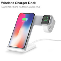 2 in 1 Wireless Charger Dock Station Bracket Stand Holder For iPhone XS For Apple Watch 1 2 3 4 Mobile Phone Fast Charging