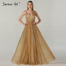 SERENE HILL Sexy Long Arabic Turkish Gold Gliter Dresses