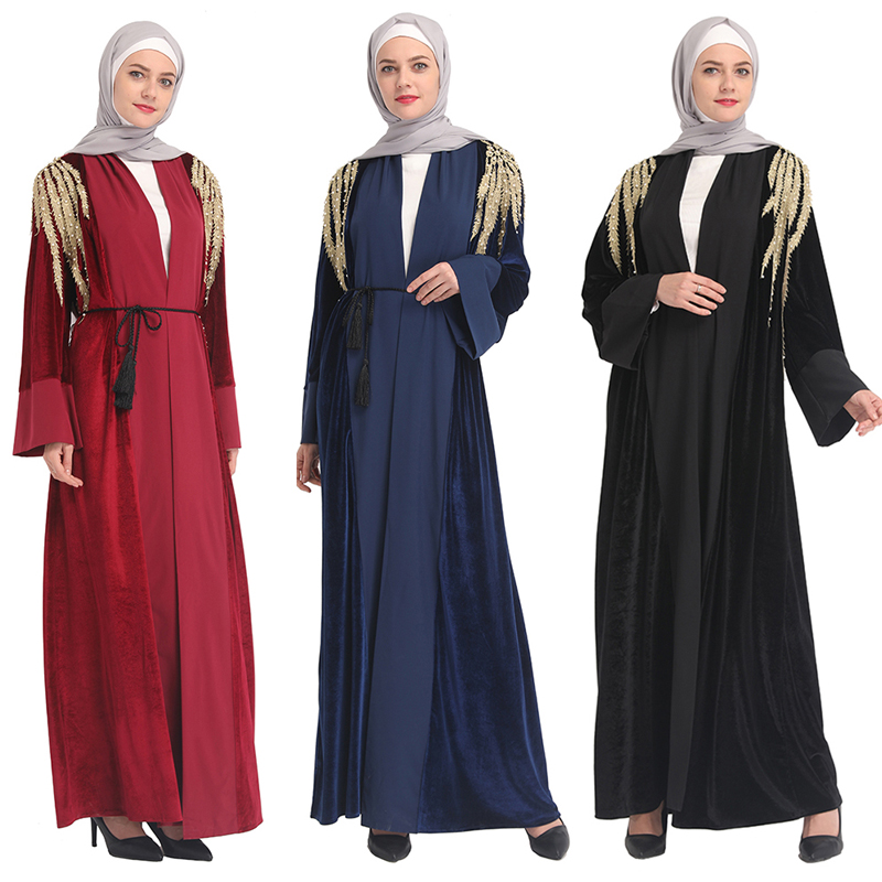 Velvet Abaya Turkey Muslim Hijab Dress Abayas For Women Kaftan Qatar Ramadan Caftan Marocain Robe Dubai Turkish Islamic Clothing