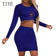 TIYE Sexy Hollow Out Lace-up Bodycon Bandage Dress Two Pieces Stes Long Sleeve O Neck Dress Autumn Women Casual Party Dresses все цены