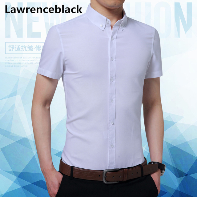 Lawrenceblack Brand Shirts Men 2018 New Arrival Short Sleeve Shirt Casual Solid Chemise Homme Cotton Business Dress Shirt 1141