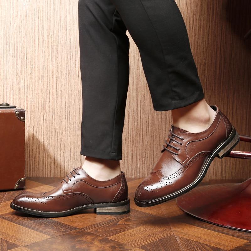 Moda Flats brown Brogue Confortáveis Em 2018 Deslizamento Plus Black Sapatos Mocassins Qualidade Rachado Couro Size Casuais Homens Ywd1xp1