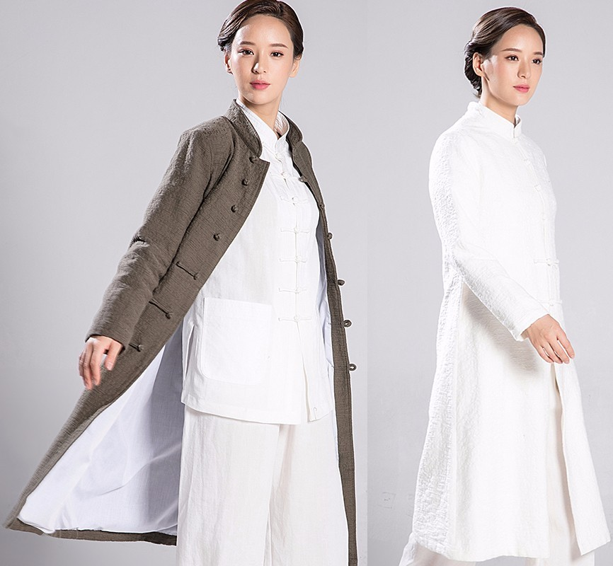 2018 New Woman And Man Thick Linen Long Coat Kung Fu Clothes Overcoat Long Fund Windproof Robe