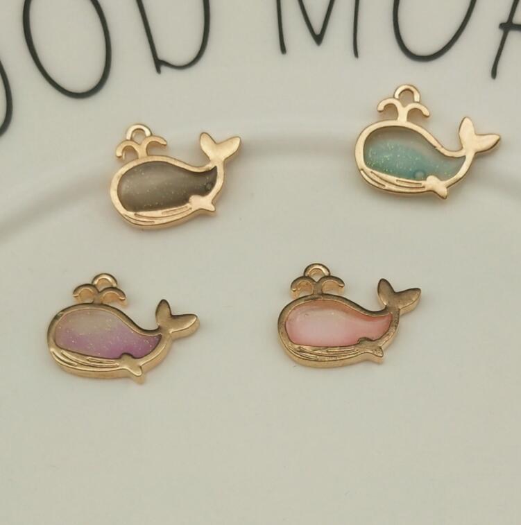 10pcs Alloy Whale Charms Pendant Enamel For DIY Bracelet Necklace Jewelry Making