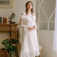 Soft bud silk yarn sexy perspective sleepwear female Multi layer ruffles stitching Princess lace Sleepwear nightdress wq1962