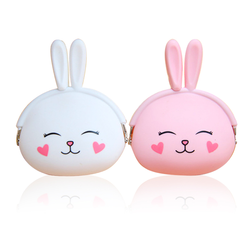 Pink Kawaii Girl Coin Purse Animal Lovely Kawaii Cartoon Rabbit Pouch Women Girls Small Wallet Soft Silicone Coin Bag Kid Gifts