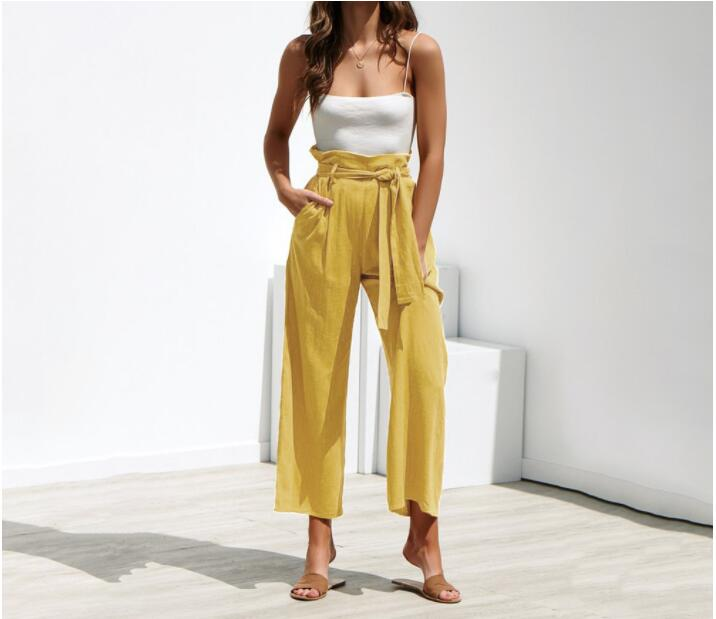 Spring   Wide     Leg     Pants   Women Autumn Fashion Sexy High Waist Trousers Back Zipper Casual Lace Up Palazzo   Pants