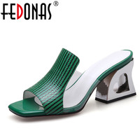 FEDONAS Fashion Peep Toe Summer Women Sandals Genuine Leather Shoes Woman Strange Style Heels Casual Slippers Female Sandals