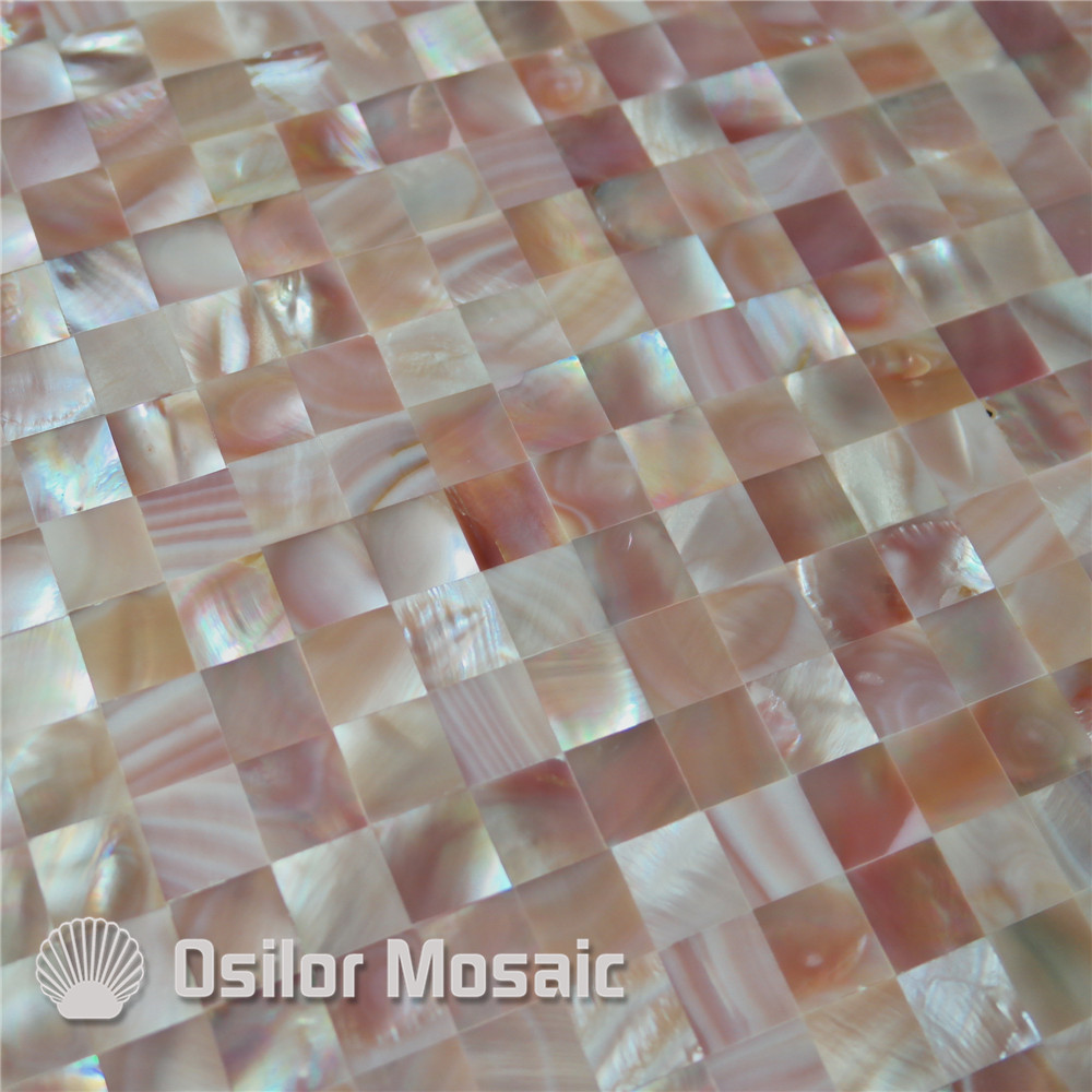 Pink color square pattern 100% pink shell mother of pearl tile for interior house decoration wall tile brick pattern 100% blacklip sea shell natural black color mother of pearl mosaic tile for interior house decoration wall tiles