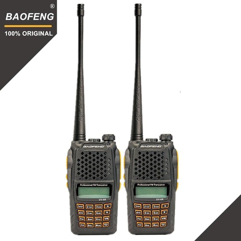 2 pz Baofeng UV-6R Two Way Radio Scanner 7 w VHF UHF Dual Band Portatile Walkie Talkie Ham Radio Hf ricetrasmettitore A Portata di mano la Radio Amador