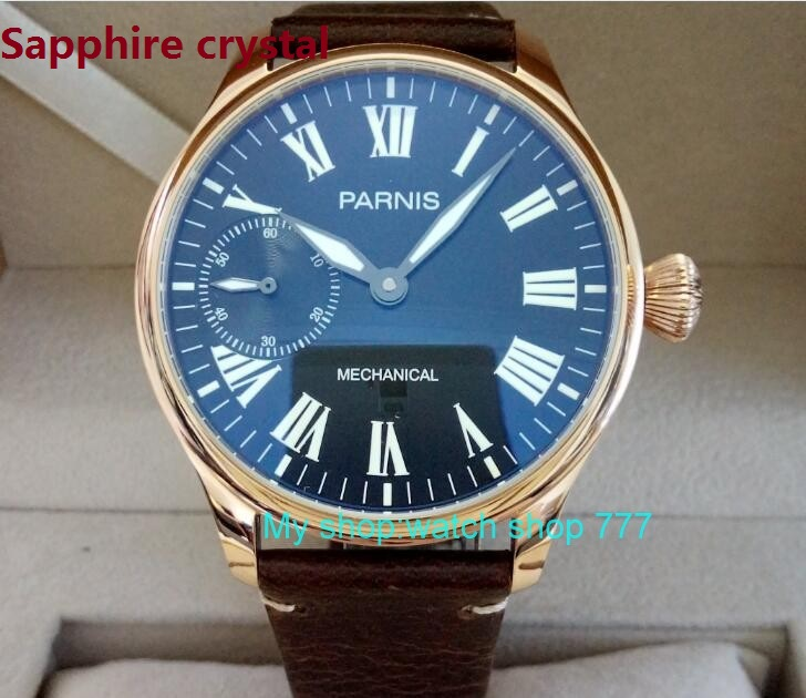 Sapphire Crystal 44mm PARNIS Black  dial asian 6497/ST3600 Mechanical Hand Wind movement men's watch Mechanical watches 88A 44mm black sterile dial green marks relojes 6497 mens mechanical hand winding watch luminous armbanduhr cm164bk