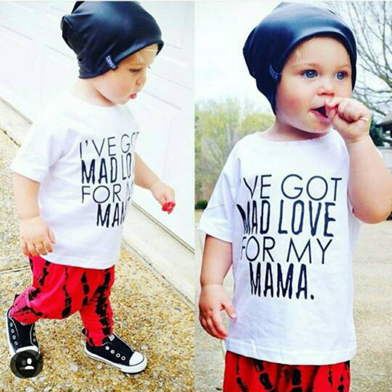 Hooyi Fashion Baby Boys Clothing Set White T-Shirt + Long Red Pant Suit Cotton Kids Clothes Suit Outfits Got Mad Love For Mama