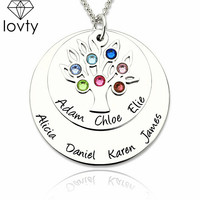 lovty Custom Made Personalized Family Tree Necklace Engraved Names Necklace Hand Stamped Layered Family Tree Disc Necklace