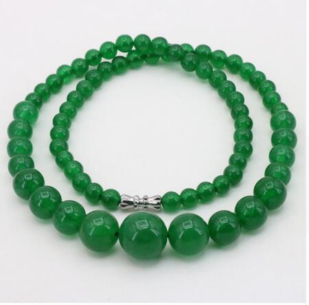 Women Gift gem beads jewelry Beautiful New Green aventurine gem round bead 6 14mm necklace in Chain Necklaces from Jewelry Accessories