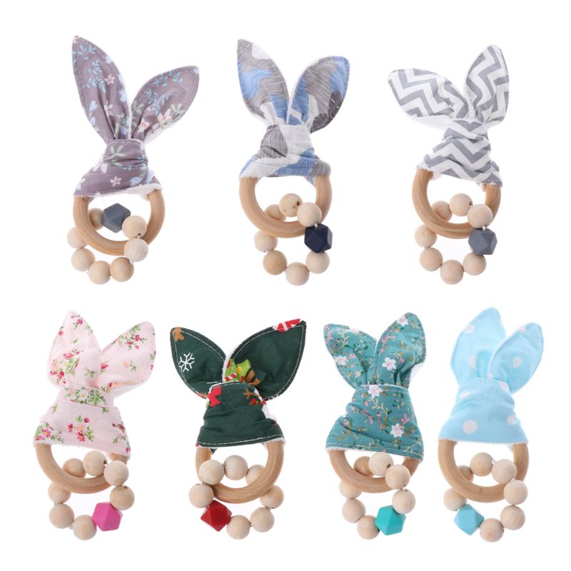 Christmas Baby Boy Bunny Ear Teether Safe Organic Wood Teething Ring 7 Color Choice Shower Gifts