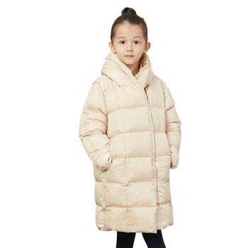 2019 winter  girl  white duck down jacket out feather down thick long down jacket European and American princess clothes 5-14 y