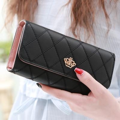 Fashion Women Hand Bags Ladies Coin purse Ling metal Crown Women wallet