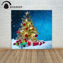 backgrounds for photo studio christmas 10x10ft Ball Tree Gift bokeh xmas vinyl color photo shoots funny merry