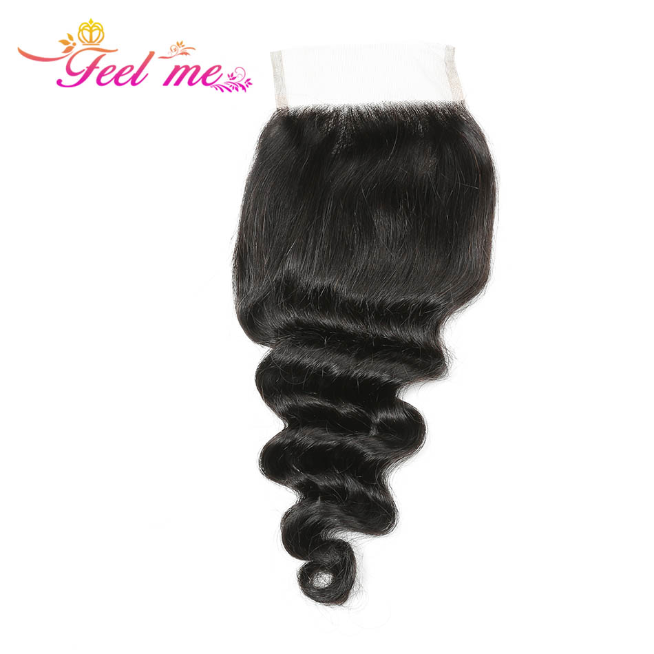 FEEL ME Loose Deep Wave Bundles With Closure Peruvian Human Hair Bundles With Closure Remy Hair 3 Bundles With Lace Closure in 3 4 Bundles with Closure from Hair Extensions Wigs