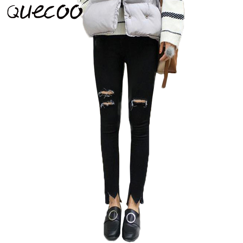 QUECOO S XL 2017 spring and summer new jeans holes casual women jeans women fashion feet