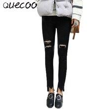 QUECOO S-XL 2017 весной и летом новые джинсы отверстия случайные женские джинсы женщин моды ноги штаны женщин