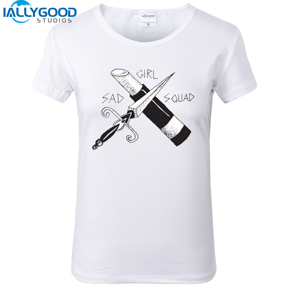 New Summer Sad Girl Squad Women T Shirt Simple pop Elements T-shirt Soft Cotton Short sleeve White Tops S1493 ...