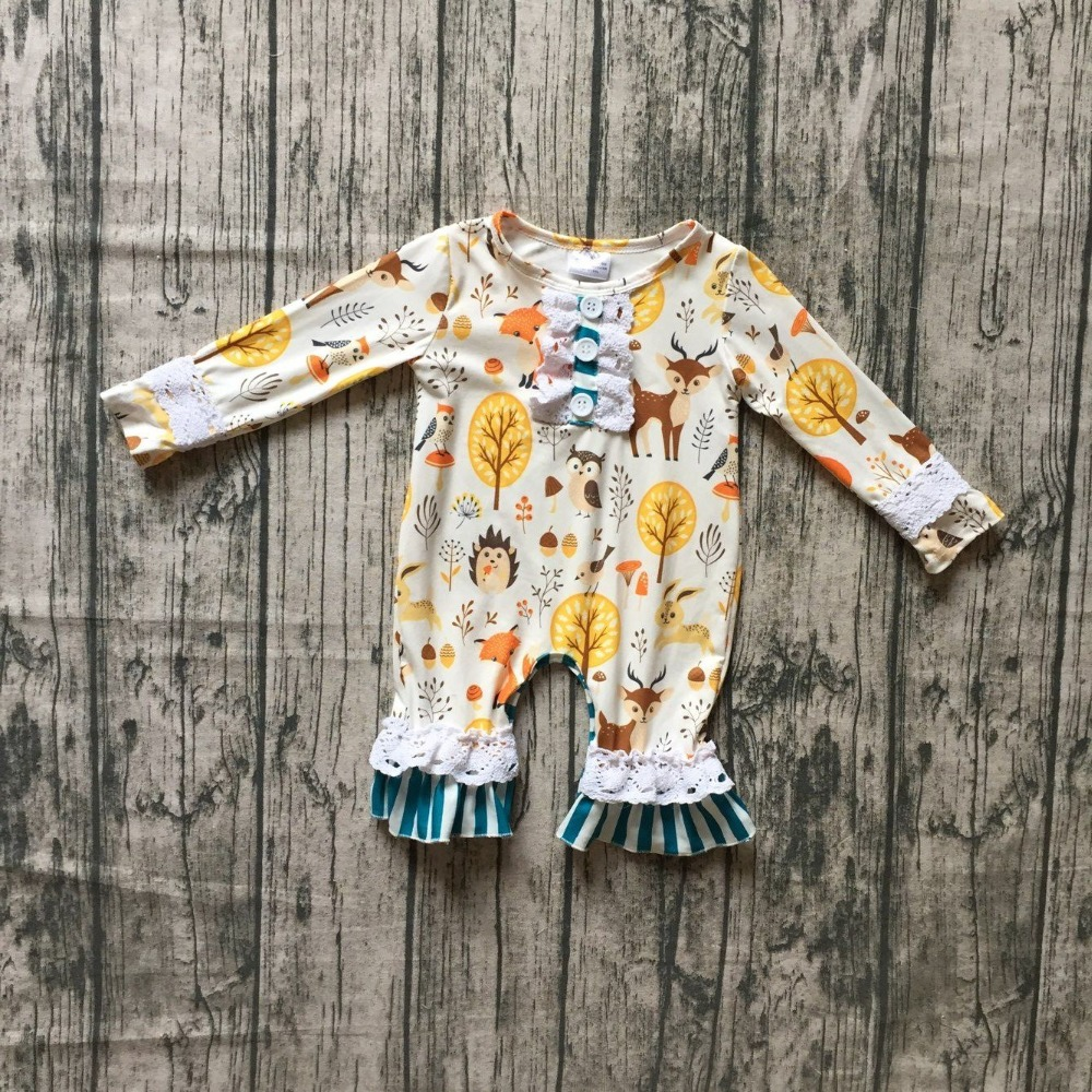new arrival thanksgiving floral Fall/winter baby girls boutique clothing animals reindeer infant cotton tutu romper Toddler цена 2017