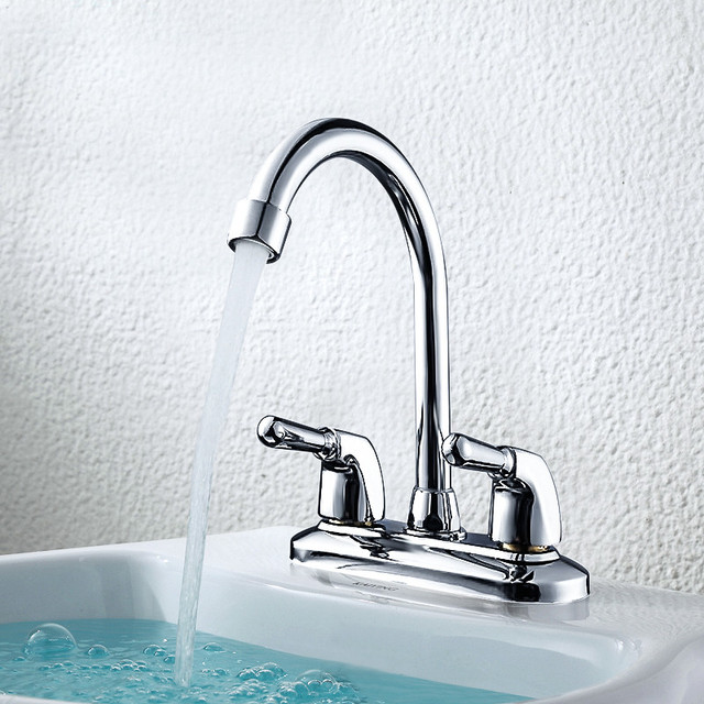Dual Hole Bathroom Basin Sink Washbasin Water Mixe Tap Faucet ...