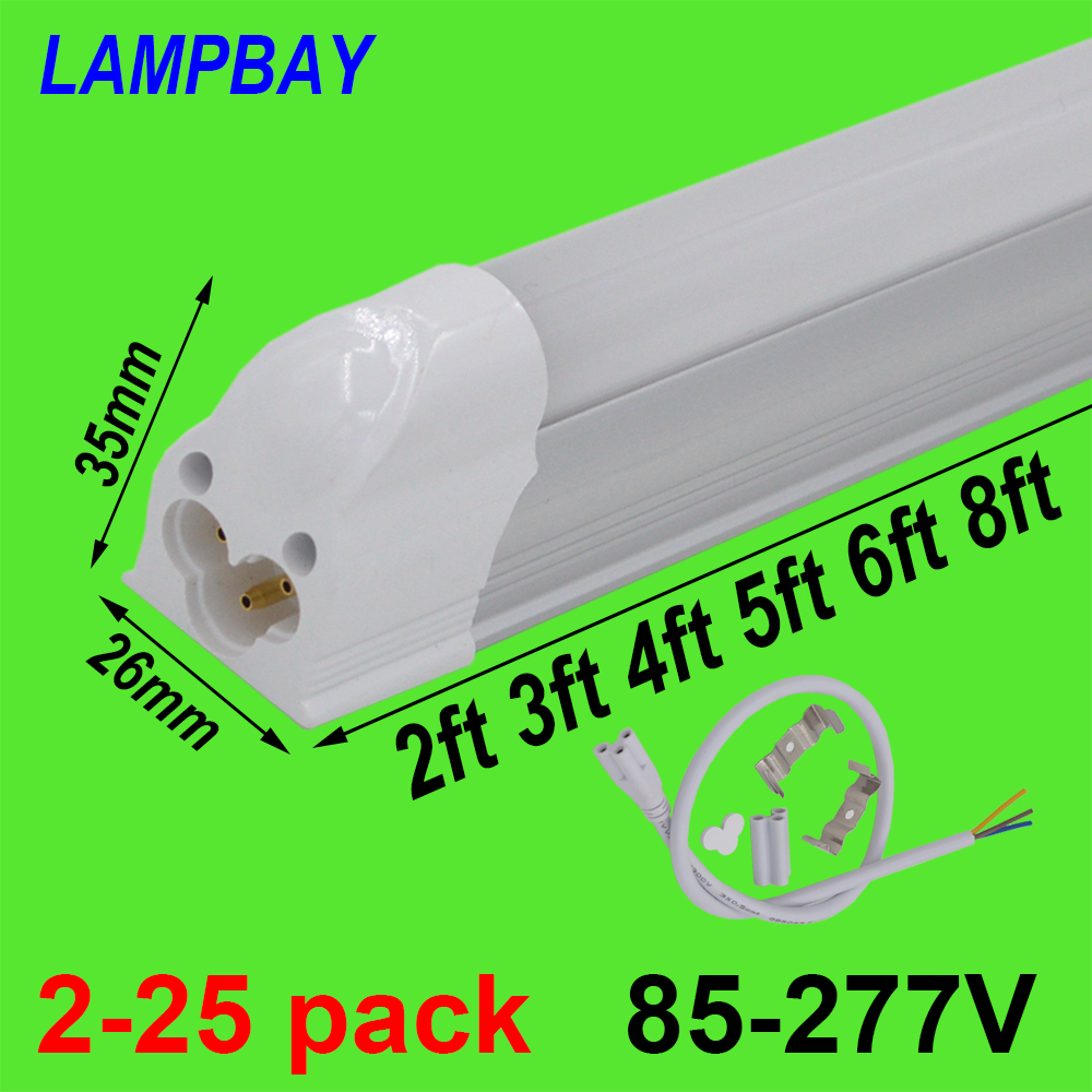 2-25pcs T5 Integrated Bulb Fixture 2ft 3ft 4ft 5ft 6ft 8ft LED Tube Light Slim Bar Lamp Linkable Linear Lighting Surface Mounted 4 pack free shipping t5 integrated led tube lights 5ft 150cm 24w lamp fixture with accessory milky clear cover 85 277v