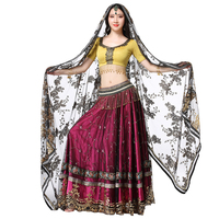 2018 Dancewear Performance Belly Dance Outfits Indian Dance Hand embroidered Bollywood Costume 4pcs Set (Top+Belt+Skirt+Sari)