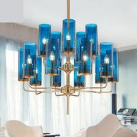 Postmodern Simple Living Room Chandelier Led Creative Personality Blue Dining Room Glass Lamps Antique Style Chandeliers