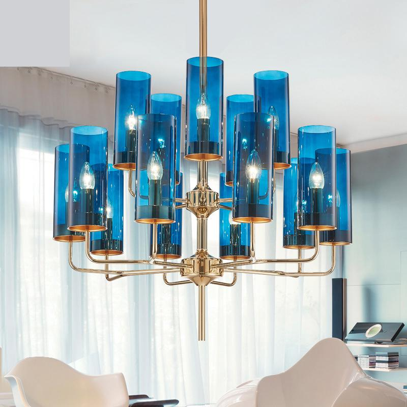 Postmodern Simple Living Room Chandelier Led Creative Personality Blue Dining Room Glass Lamps Antique Style Chandeliers modern simple crystal chandelier light creative personality crysta chandelier lamps chandeliers lighting living room bedroom