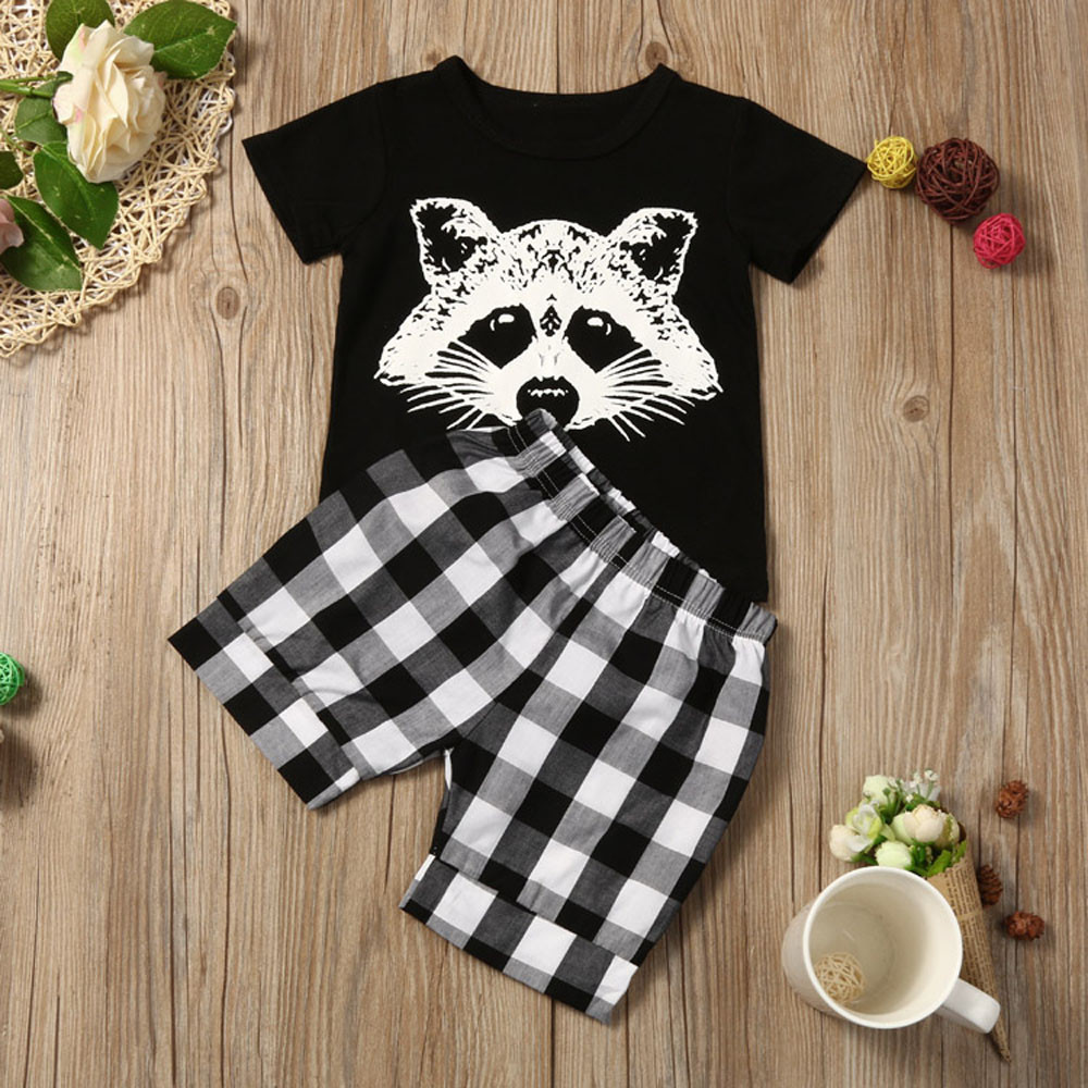 New summer childrens suit boy fox head plaid striped T-shirt suit casual fashion sports childrens clothing cartoon cute sets