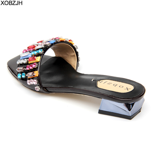 Image 2 - Summer Flat Sandals Women Shoes Luxury 2019 Brand Black Red Yellow Rhinestone designer Sandals Leather Slippers Shoes Woman